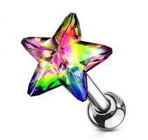 Piercing cartilage hélix étoile cristal vitrail léger