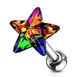 Piercing cartilage hélix étoile cristal vitrail moyen