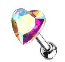 Piercing cartilage hélix coeur cristal aurore boréale