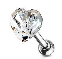 Piercing cartilage hélix coeur cristal blanc