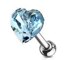 Piercing cartilage hélix coeur cristal bleu clair