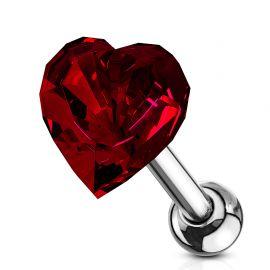 Piercing cartilage hélix coeur cristal rouge
