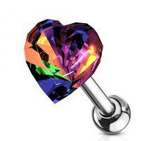 Piercing cartilage hélix coeur cristal vitrail léger