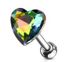 Piercing cartilage hélix coeur cristal vitrail moyen