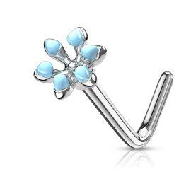Piercing nez tige en L fleur émaillée turquoise