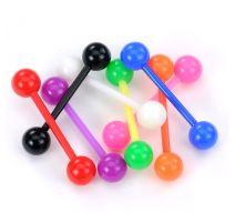 Lot de 8 piercing langue Bioflex boules colorées