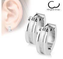 Paire Boucles d'oreille anneaux rainures