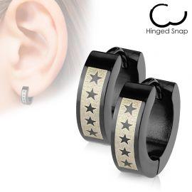 Paire boucles d'oreille homme cinq étoiles