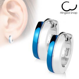 Paire Boucles d'oreille Anneaux Duo Argenté - Bleu