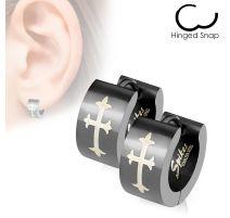 Paire boucles d'oreille homme croix gothique