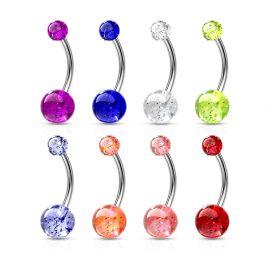Piercing nombril Acier Boules Glitter