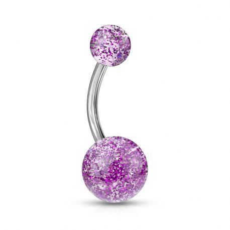 Piercing nombril Acier Boules Ultra Glitter