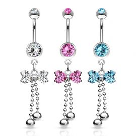 Piercing nombril ruban perles