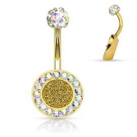 Piercing nombril cercle doré cristaux aurore boréale