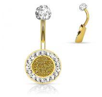 Piercing nombril cercle doré cristaux blancs