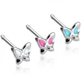 Piercing nez Argent 925/1000 Tige Droite Papillon