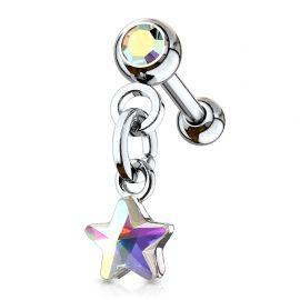 Piercing cartilage hélix pendentif étoile cristal aurore boréale