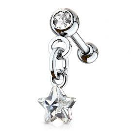 Piercing cartilage hélix pendentif étoile cristal blanc