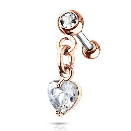 Piercing cartilage hélix pendentif coeur cristal blanc plaqué or rose