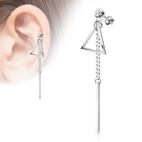 Piercing cartilage pendentif barre triangle