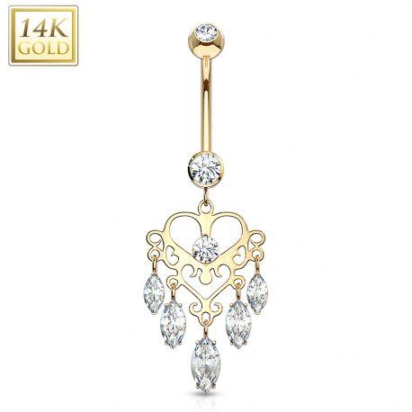 Piercing nombril Or 14 carats Chandelier
