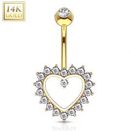 Piercing nombril Or 14 carats Coeur Pavé de Strass