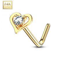 Piercing nez Or jaune 14 carats coeur gemme blanc