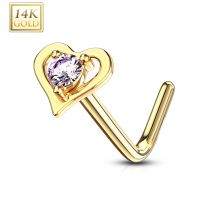 Piercing nez Or jaune 14 carats coeur gemme rose