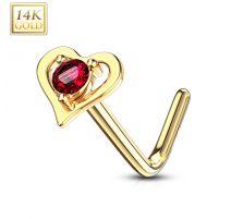 Piercing nez Or jaune 14 carats coeur gemme rouge