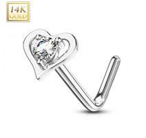 Piercing nez Or blanc 14 carats coeur gemme blanc