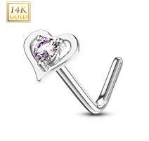 Piercing nez Or blanc 14 carats coeur gemme rose