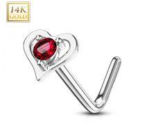 Piercing nez Or blanc 14 carats coeur gemme rouge