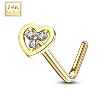 Piercing nez Or jaune 14 carats coeur trois strass