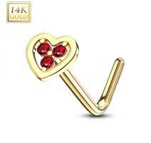 Piercing nez Or jaune 14 carats coeur trois strass rouges