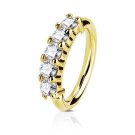 Piercing anneau cinq strass or jaune 14 carats nez et oreille