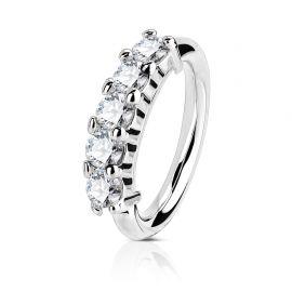Piercing anneau cinq strass or blanc 14 carats nez et oreille
