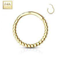 Piercing anneau en or jaune 14 carats tressé