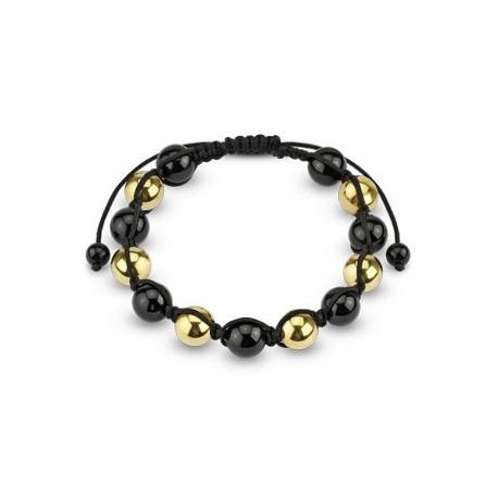 Bracelet Shamballa avec billes métalliques noires et dorées