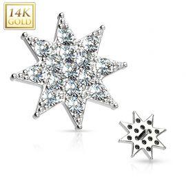 Piercing microdermal Or blanc 14 Carats étoile pavée de strass