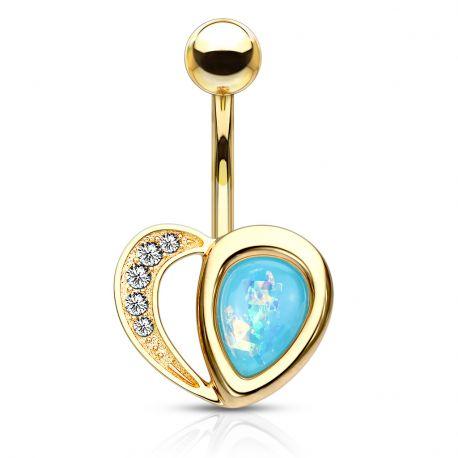 Piercing nombril coeur doré opaline turquoise