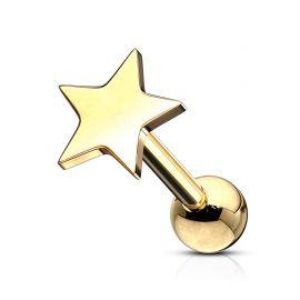 Piercing cartilage hélix étoile dorée