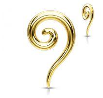 Piercing écarteur oreille spirale en acier chirurgical doré