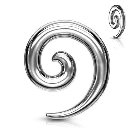 Piercing Ecarteur Oreille Spirale en Acier Chirurgical Argenté