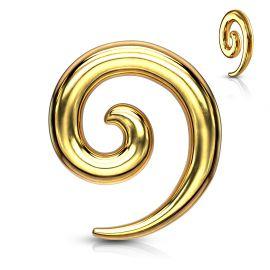 Piercing écarteur oreille spirale acier chirurgical doré