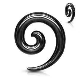 Piercing écarteur oreille spirale acier chirurgical noir