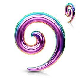 Piercing écarteur oreille spirale acier chirurgical multicolore