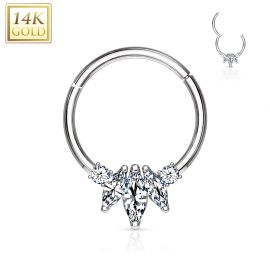 Piercing anneau en or blanc 14 carats septum daith