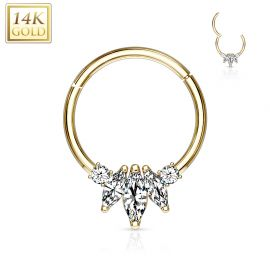 Piercing anneau en or jaune 14 carats septum daith