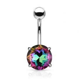 Piercing nombril cristal aurore boréale multicolore