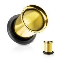 Piercing tunnel doré avec anneau caoutchouc